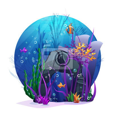 Illustration von Unterwasser-Felsen mit Algen und Fischen Spaß.