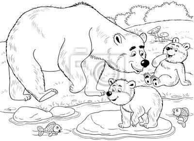 Im Zoo Nette Waldtiere Eine Familie Von Niedlichen Bären Mutter