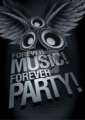 Immer Musik für immer Party! Musik-Konzept-Plakat-Vorlage.