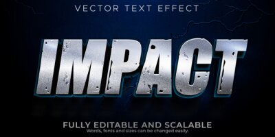Fototapete Impact text effect, editable metallic and shiny text style