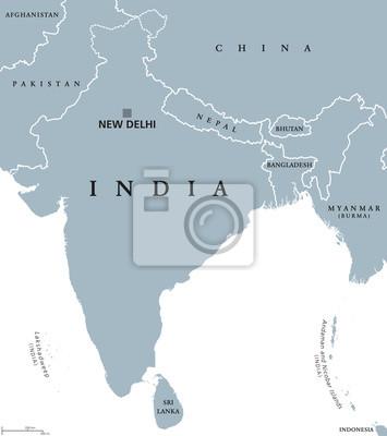 Südasien Karte.Fototapete Indien Politische Karte Mit Hauptstadt Neu Delhi Landesgrenzen