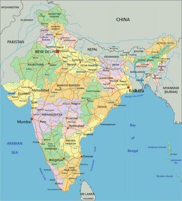 Fototapete Indien - sehr detaillierte editierbare politische Karte mit Beschriftung.