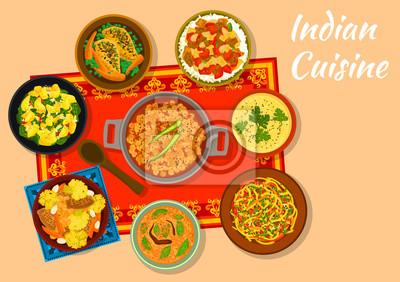 Indische Küche | Indische Kuche Scharfe Gerichte Fur Das Mittagessen Menu Design