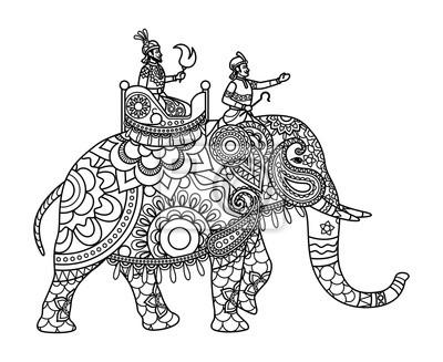 Indische Maharadscha Auf Dem Elefanten Malvorlagen Abbildung