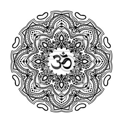 Fototapete Indische Mandala Mit Dem Symbol Om In Der Mitte Abbildung Gut