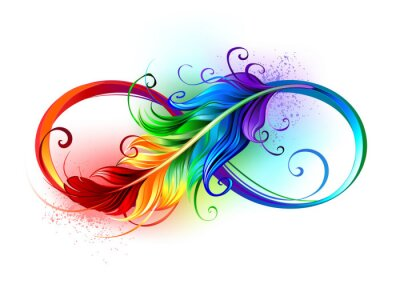 Fototapete Infinity symbol with rainbow feather