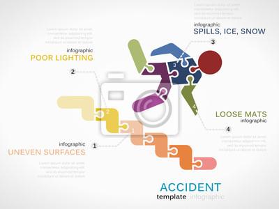 Infografik vorlage mit unfall-symbol fototapete • fototapeten ...