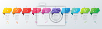 Fototapete Infographics design vector and business icons with 10 options.