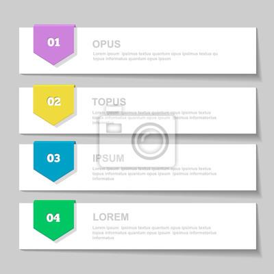 Infographics design vorlage. nummerierte banner, horizontale ...