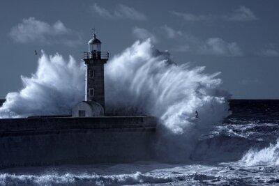 Fototapete Infrarot stürmischer Leuchtturm