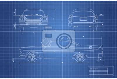 Ingenieur-blaupause von retro-auto. vintages cabriolet. vorder ...