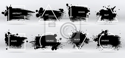 Fototapete Ink blots. Abstract shapes, frames with black brushstroke grunge texture. Isolated border vector set