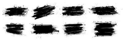 Fototapete Ink brushstroke and paintbrush template with splashes grunge. Vector set black ink brush stroke. Dirty artistic design elements. Grunge splatter, dirt stain, brush with drops blots. Vector ink box