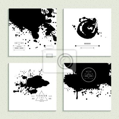 Inkblot Sammlung. Satz von vier Karten. Abbildung.