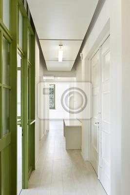Innen Buro Langen Korridor Mit Glastur Fototapete Fototapeten
