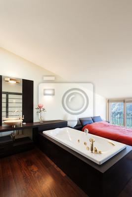 Innen luxus-wohnung, schöne schlafzimmer mit bad fototapete ...
