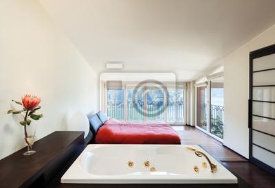 Fototapete: Innen luxus-wohnung, schöne schlafzimmer mit bad