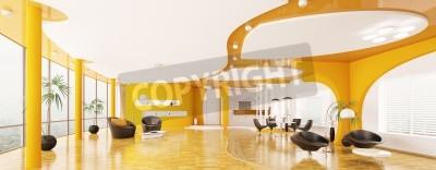Innenansicht Der Modernen Wohnung Wohn Esszimmer Kuche Panorama