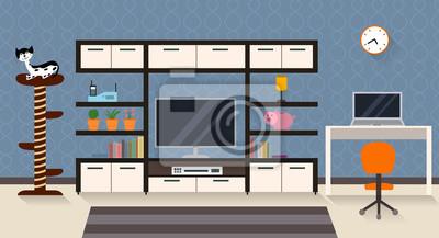 Innenansicht eines Wohnzimmers mit Möbeln und TV. Moderne flache Design Illustration mit langen Schatten
