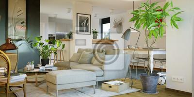 Fototapete: Innenansicht luxus gemütliches sofa im wohnzimmer - gemütliches
