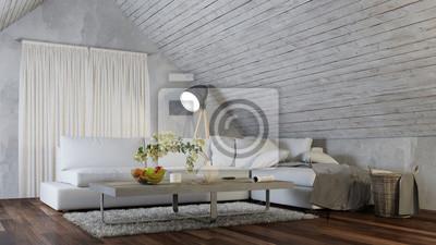 Fototapete Innenarchitektur Mit Sofa Im Dachgeschoss Wohnzimmer