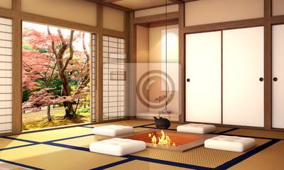 Innenarchitektur modernes wohnzimmer mit tabelle holzboden fototapete fototapeten alt - Japanische innenarchitektur ...