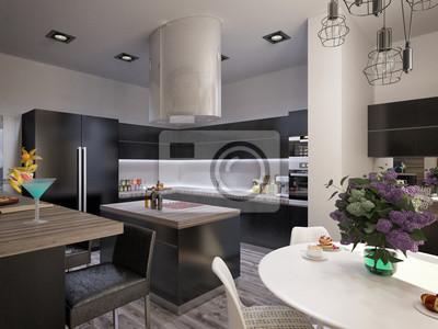 Great Fototapete Innenarchitektur Wohnzimmer Mit Küche