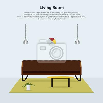 Fototapete Innenarchitektur. Wohnzimmermöbel. Modernes Wohnzimmer Mit Braunem  Ledersofa, Tisch, Lampen Und Teppichboden