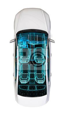 Innenentwicklung des autos / 3d übertragen bild eines autos im ...