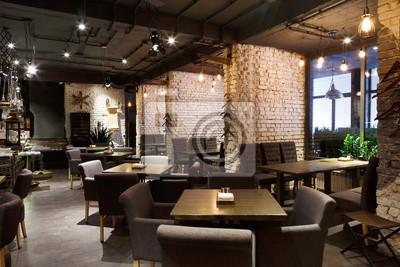 Fototapete Innenraum des gemütlichen Restaurants, Loft-Stil