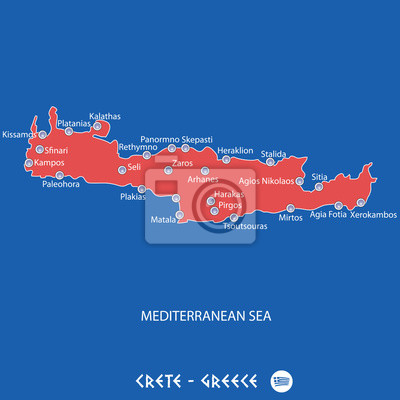 Griechenland Karte Kreta.Fototapete Insel Kreta In Griechenland Rote Karte Abbildung