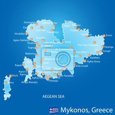 Karte Griechenland Mykonos.Fototapete Insel Mykonos In Griechenland Karte