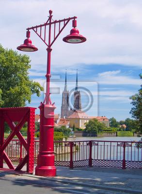 Fototapete Insel Tumski, Wroclaw, Polen