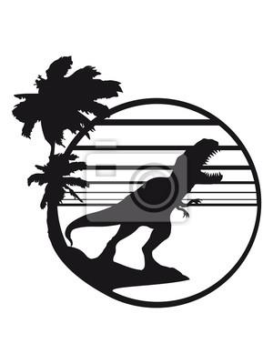 Strand comic schwarz weiß  Insel urlaub palmen strand park silhouette schwarz umriss t-rex ...