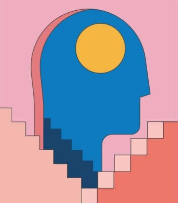 Fototapete Insomnia, psychology mental health concept illustration with human head silhouette as doorway and abstract architecture stairways. Minimalist trendy flat styled vector illustration.