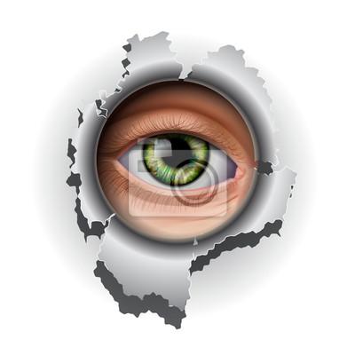 Interessiert Auge, das in Loch, Vektor-Illustration eps10.