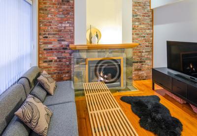 Fototapete Interior Design Eines Luxus Wohnzimmer Mit Einer Mauer Und Kamin.
