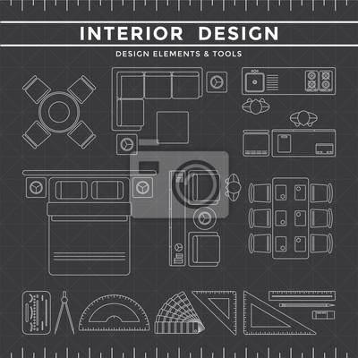Interior Designelemente Tools Auf Dunklem Hintergrund Fototapete Classy Interior Design Elements