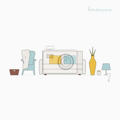 Fototapete Interior Design Konzept. Wohnzimmer Vektor Illustration.