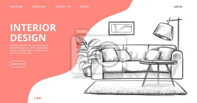 Fototapete Interior design landing page. Vector sketch of living room. Hand drawn furniture. Illustration of furniture interior room, sketch living apartment