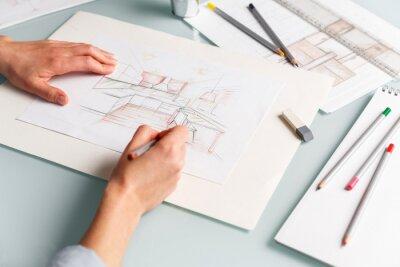 Fototapete Interior designer drawing pencil sketch of a kitchen