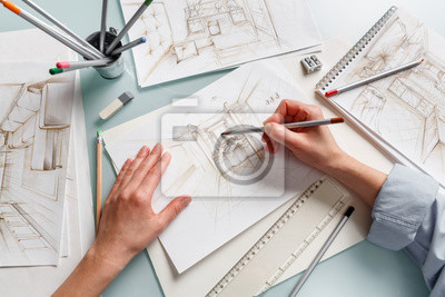 Fototapete Interior designer making hand drawing pencil sketch of a bathroom
