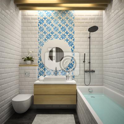 Interior modernen badezimmer 3d-rendering fototapete • fototapeten ...