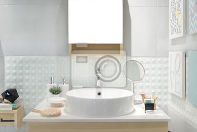Badezimmer Waschbecken | Interior Of Badezimmer Mit Waschbecken Waschbecken Und Spiegel