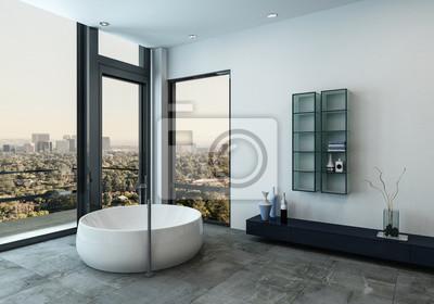 Interior of luxus-badezimmer mit runder wanne fototapete ...