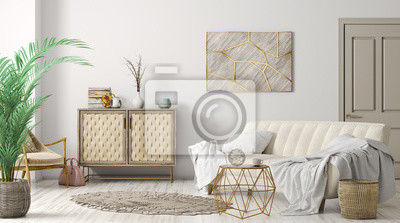 Fototapete Interior of modern living room 3d rendering