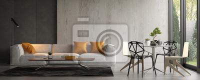 Fototapete Interior of modern living room with sofa 3D rendering