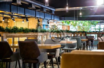Fototapete Interior of modern loft style restaurant