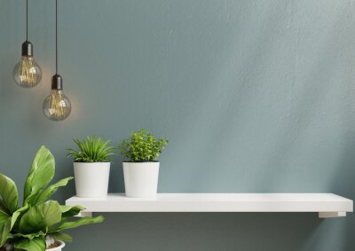 Fototapete Interior wall mockup with green plant,Light blue wall and shelf.