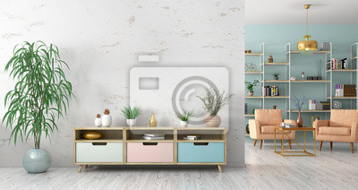 Fototapete Interior with wooden sideboard and armchairs 3d rendering